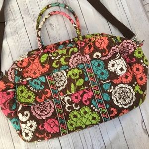 VERA BRADLEY Lola Brown Floral Grand Traveler Bag